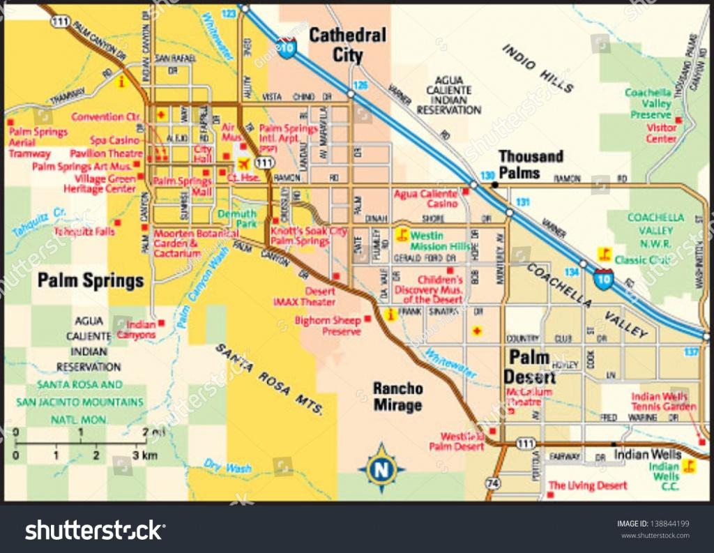 Palm Springs California Area Map Stock Vector (Royalty Free) 138844199 - Map Of Palm Springs California And Surrounding Area
