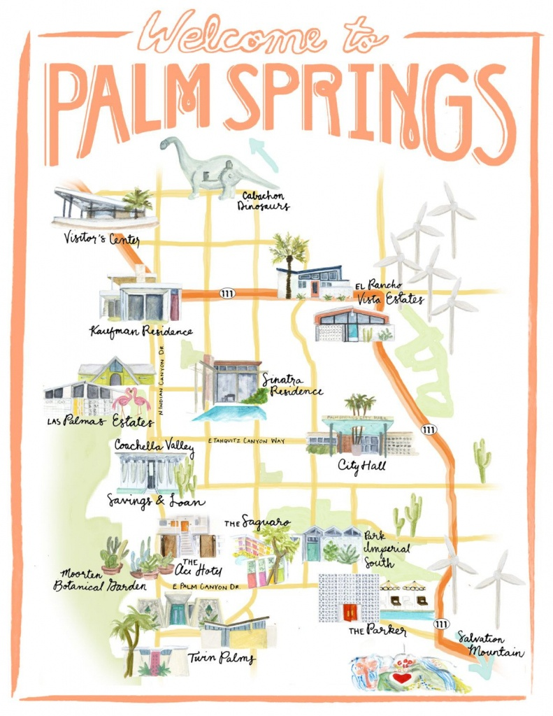 Palm Springs California Illustrated Travel Mapstripedcatstudio - Map Of California Showing Palm Springs