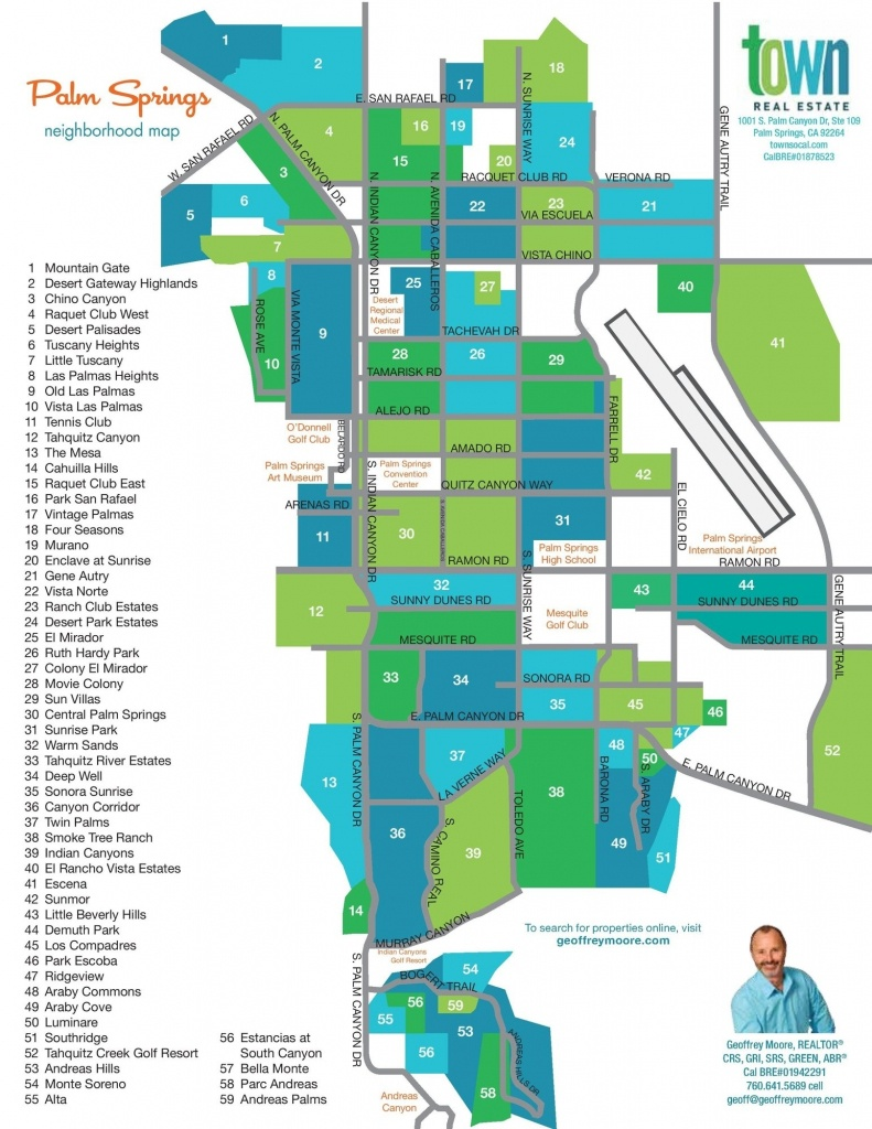 Palm Springs Real Estate Map | Palm Springs Neighborhoods With - Map Of California Showing Palm Springs