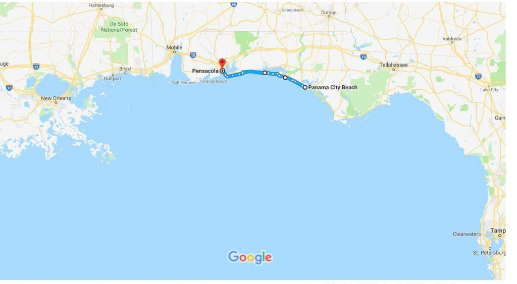 Panama City Beach, Fl To Pensacola, Fl – Google Maps | Urban Bicycle - Where Is Pensacola Florida On A Map