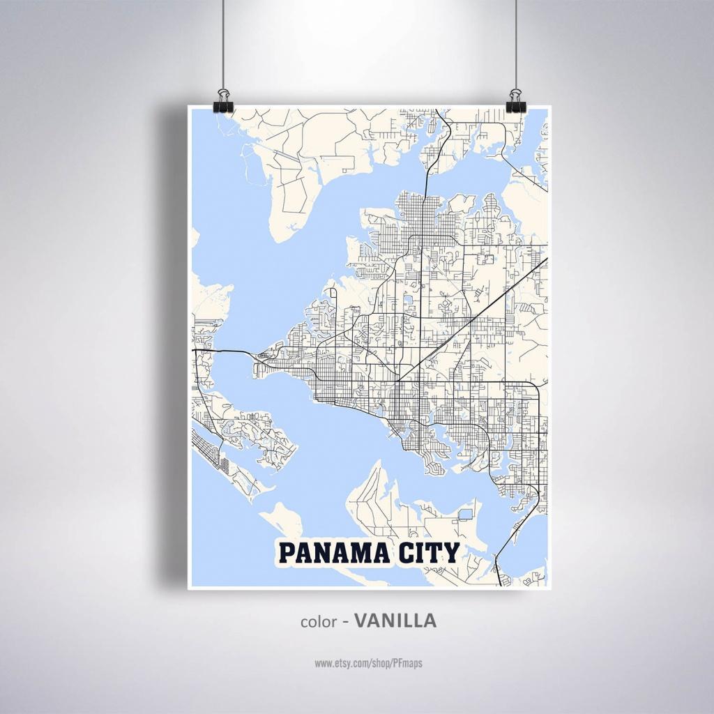 Panama City Map Print Panama City City Map Florida Fl Usa | Etsy - Street Map Panama City Florida