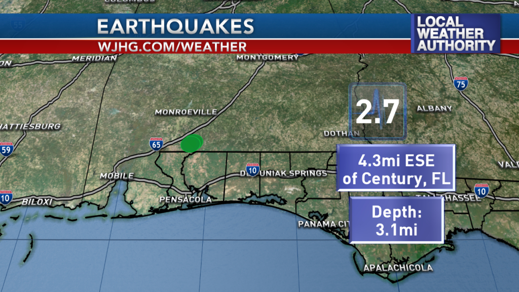 Panhandle Earthquake - Florida Earthquake Map
