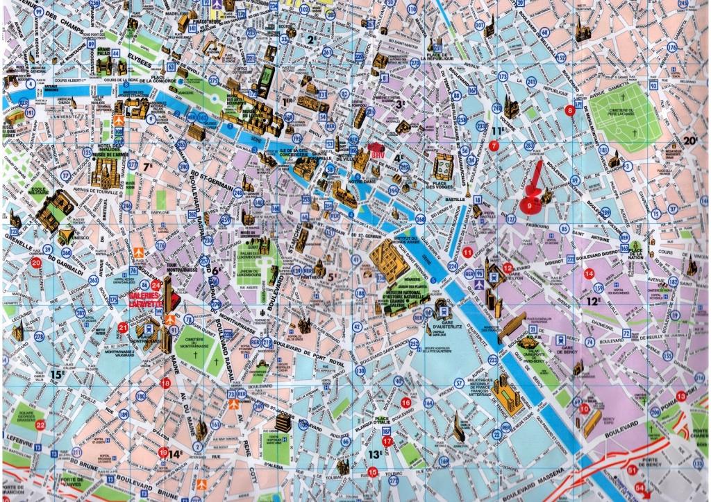 Paris Map Tourist And Travel Information | Download Free Paris Map - Printable Map Of Paris City Centre