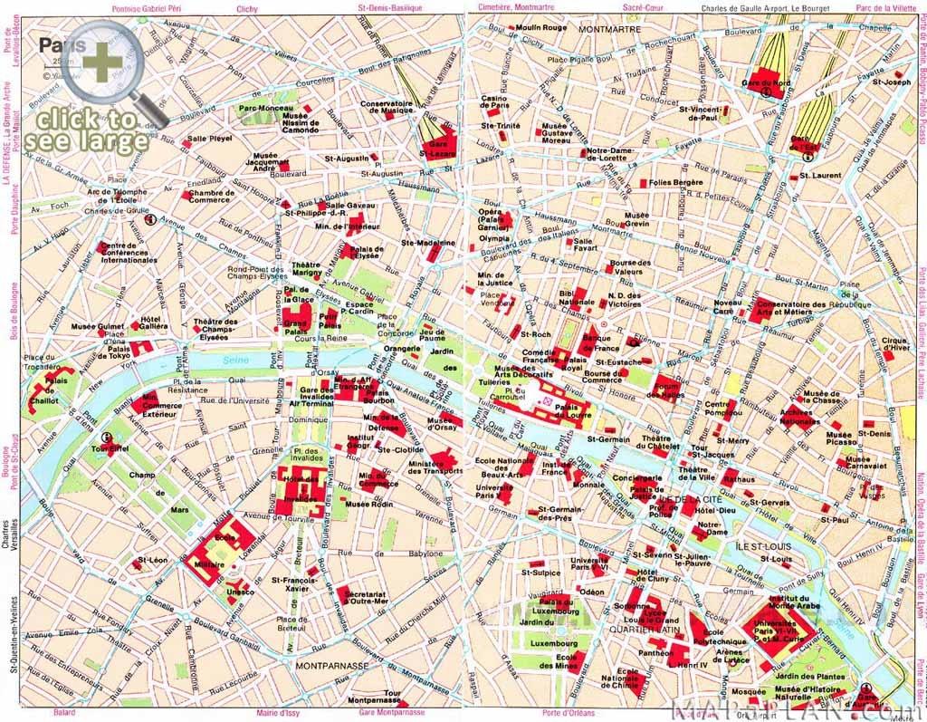 Paris Maps - Top Tourist Attractions - Free, Printable - Mapaplan - Printable Map Of Paris France