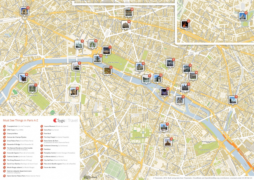 Paris Printable Tourist Map   Sygic Travel - Paris Printable Maps For Tourists