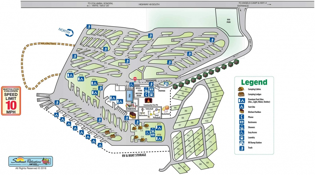 Park Info - Angels Camp Rv Resort - California Rv Camping Map
