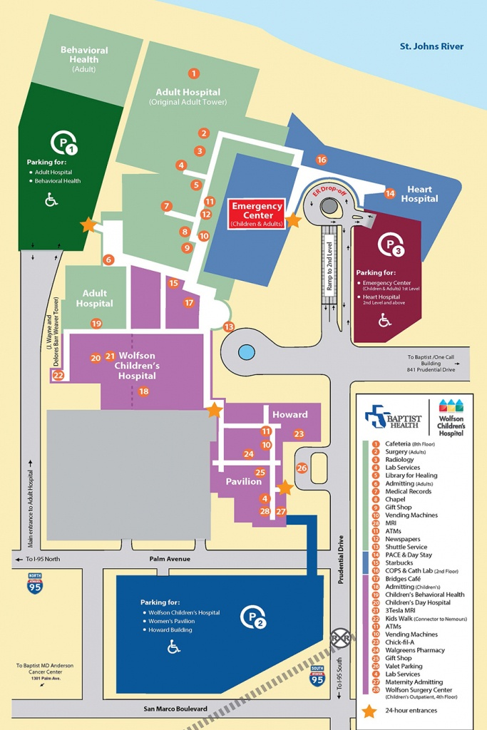 Parking And Campus Map| Baptist Heart Hospital | Jacksonville, Florida - Florida Hospital South Map