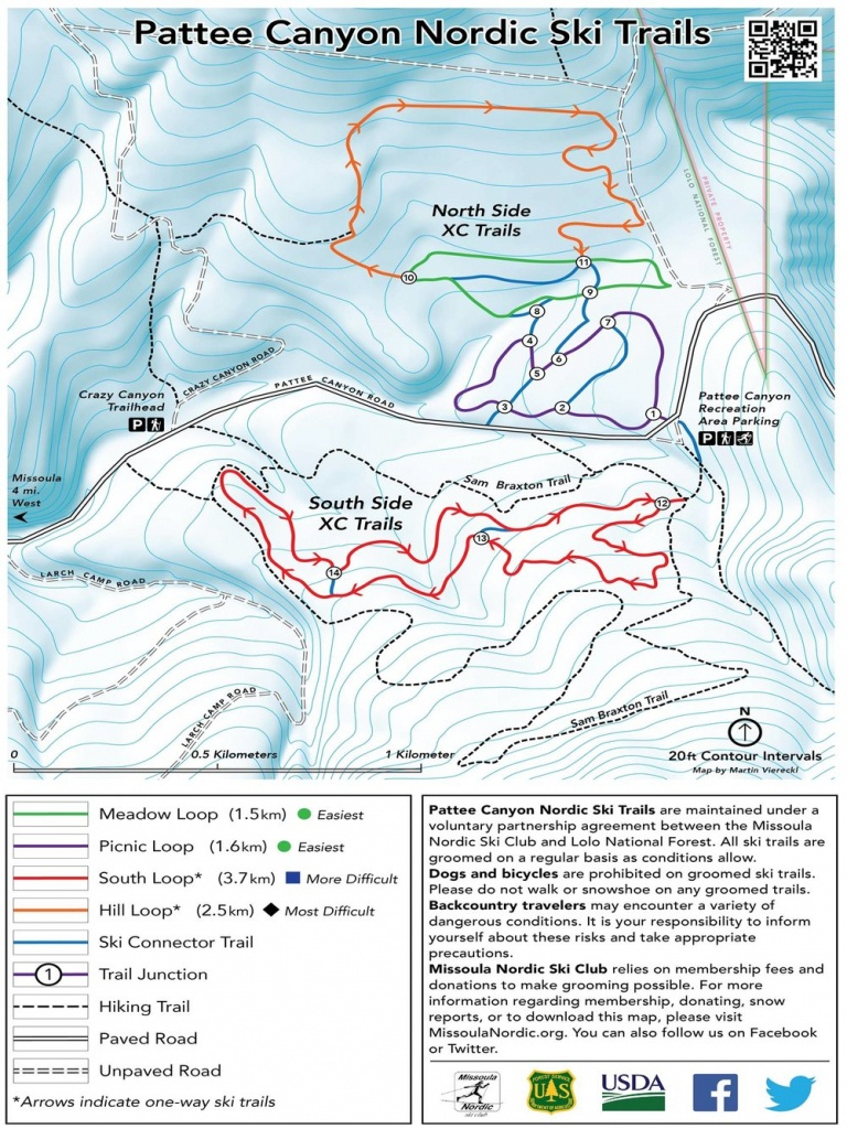 Pattee Canyon (10Km Skate/classic) — Missoula Nordic Ski Club - Printable Missoula Map