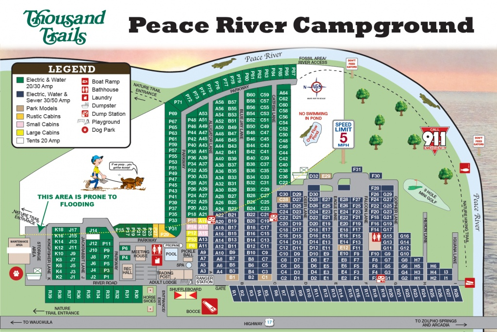 Peace River Rv & Camping Resort (Thousand Trails) - Wauchula, Fl - Thousand Trails Florida Map