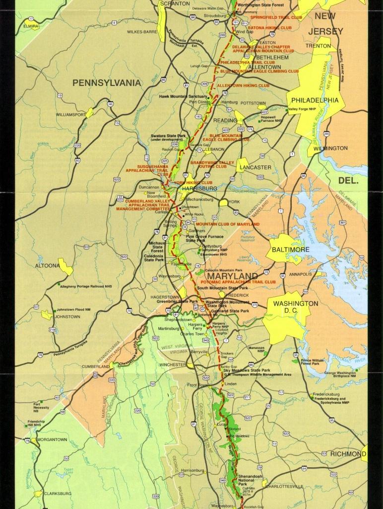 Pennsylvania To Shenandoah | Maps | Appalachian Trail, Appalachian - Printable Appalachian Trail Map