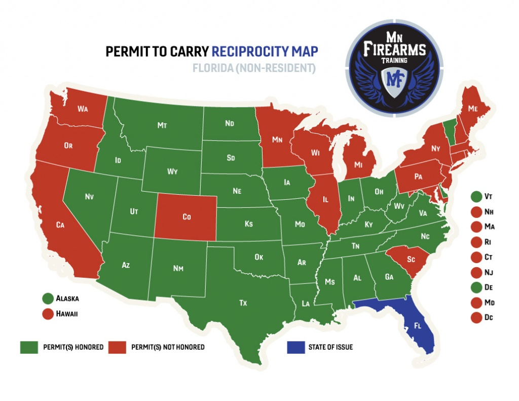 Permit To Carry Maps | Mn Firearms Training - Florida Reciprocity Concealed Carry Map