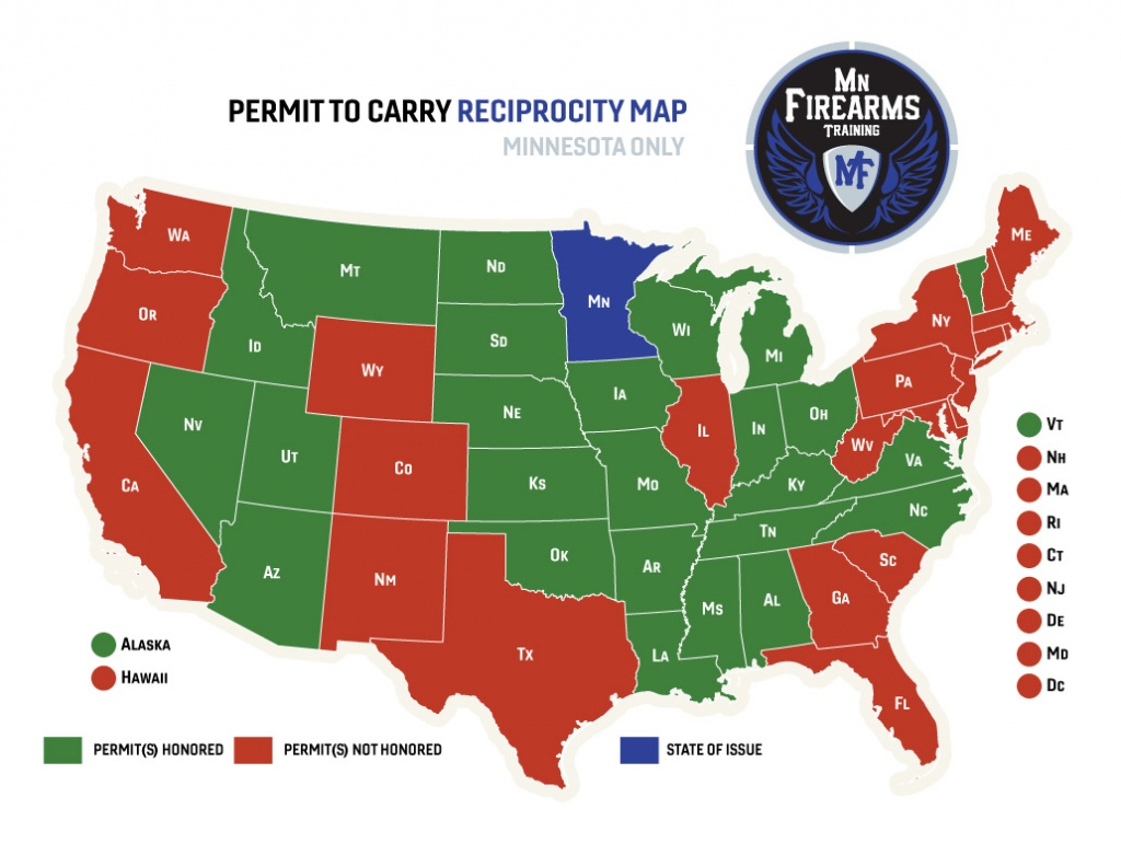 Permit To Carry Maps | Mn Firearms Training - Texas Chl Reciprocity Map 2018