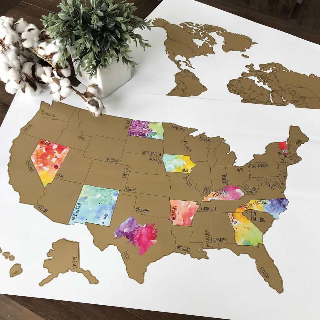 Personalized Large Us Watercolor Scratch Off Map Been There | Etsy - Florida Scratch Off Map