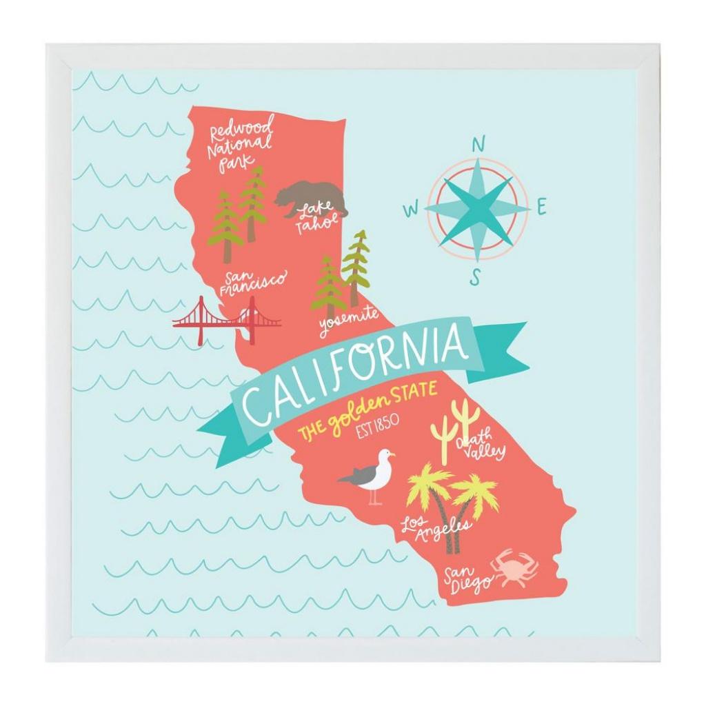 Petal Lane Alexa California Map Art Board, White Frame, Magnetic - California Map Art