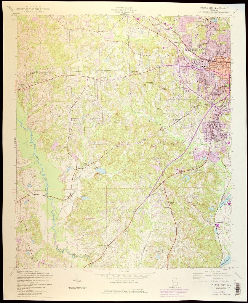 Phenix City Map Of Phenix City South Carolina Art Print Wall Decor - Usgs Printable Maps