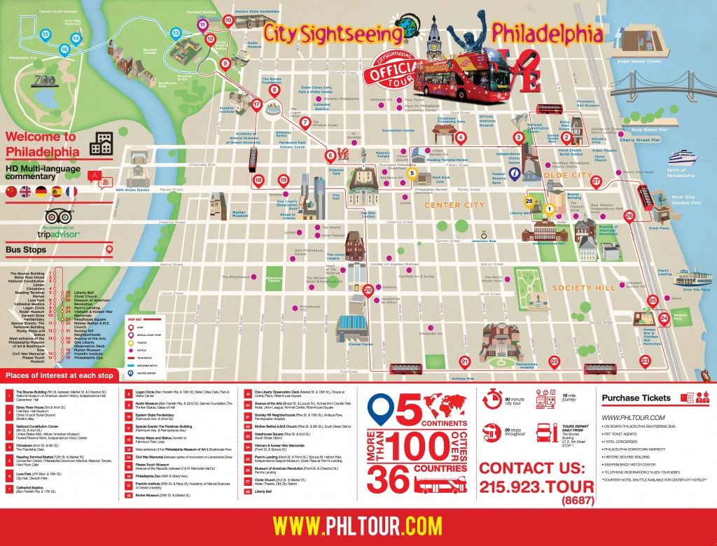 Philadelphia City Tour Route Map | Philadelphia Sightseeing Tours - Philadelphia City Map Printable