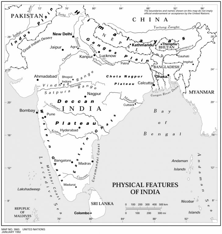 Physical Map Of India Printable