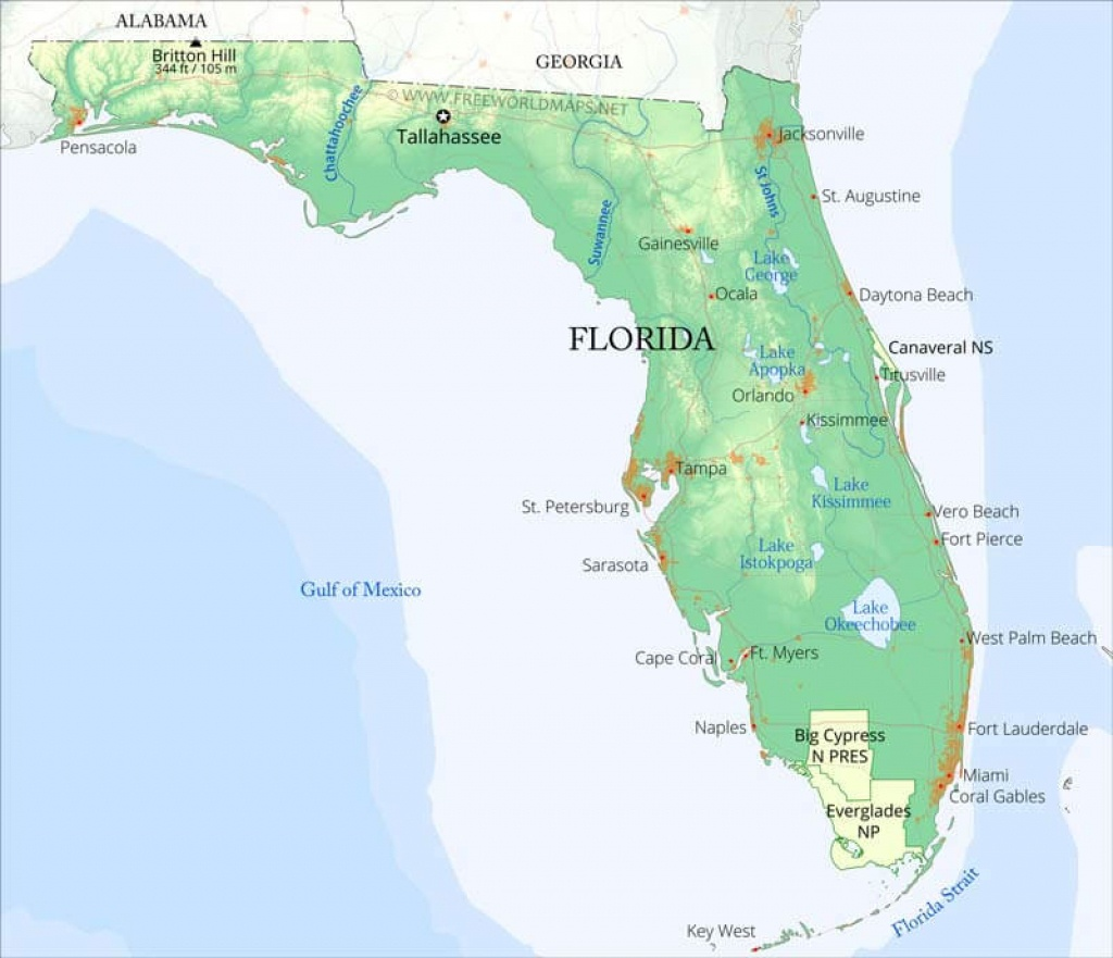Physical Map Of Florida - Mexico Florida Map