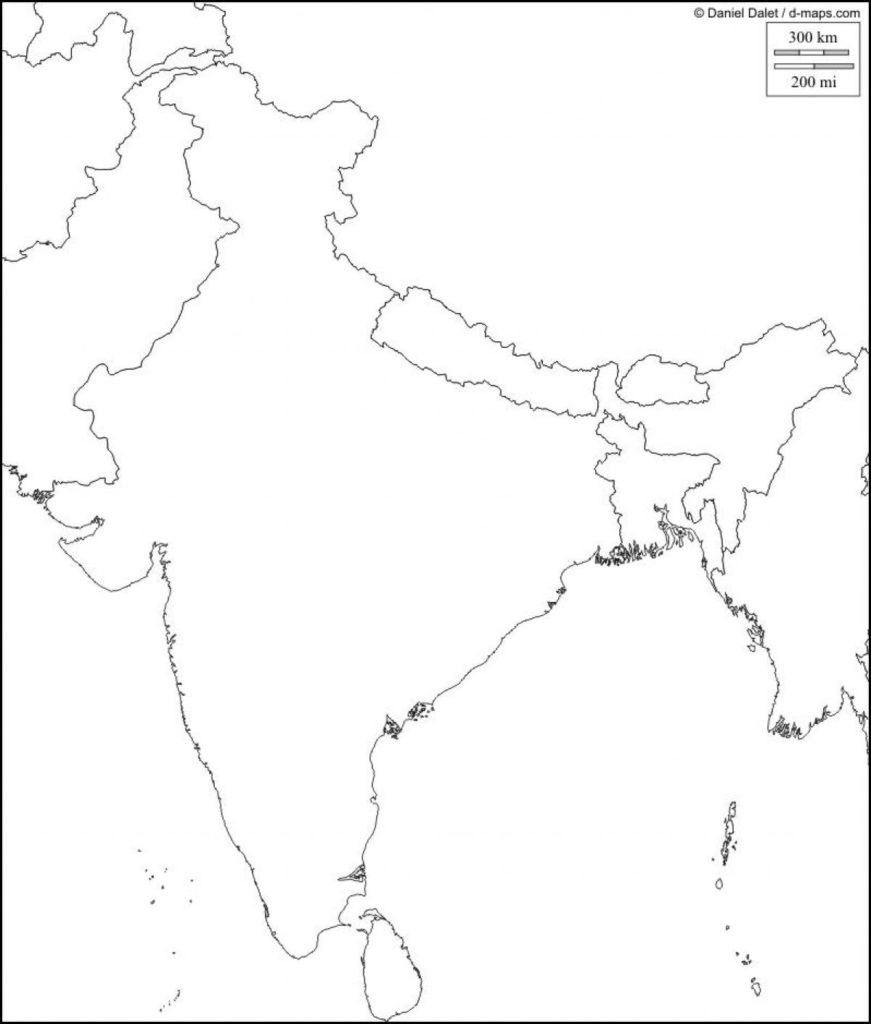 Physical Map Of India Blank Southern Within South Asia 871×1024 4 - Map Of India Outline Printable