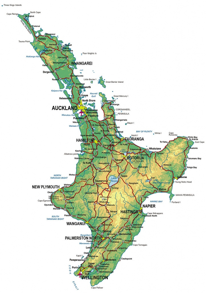 Physical Map Of New Zealand, North Island - New Zealand South Island Map Printable