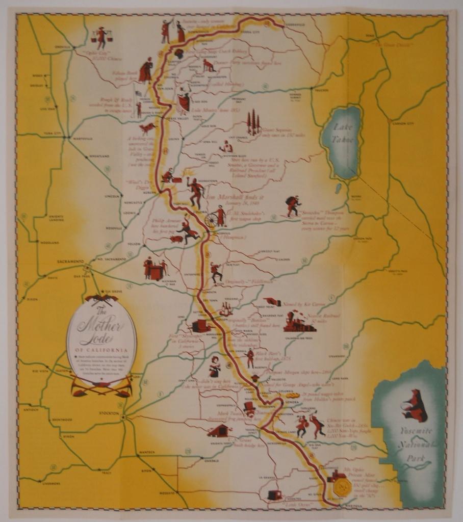 Pictorial Map Of California Gold Rush Region - Philadelphia Print Shop - California Mother Lode Map