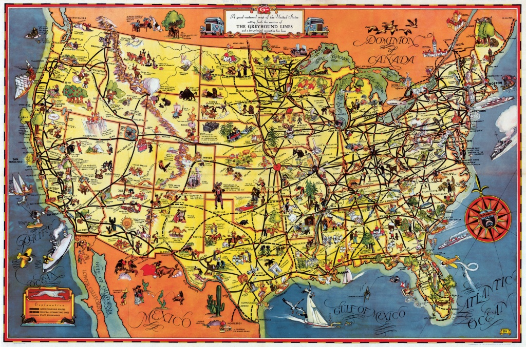 Pictorial Map Setting Forth The Services Of The Greyhound Lines And - Greyhound Route Map California