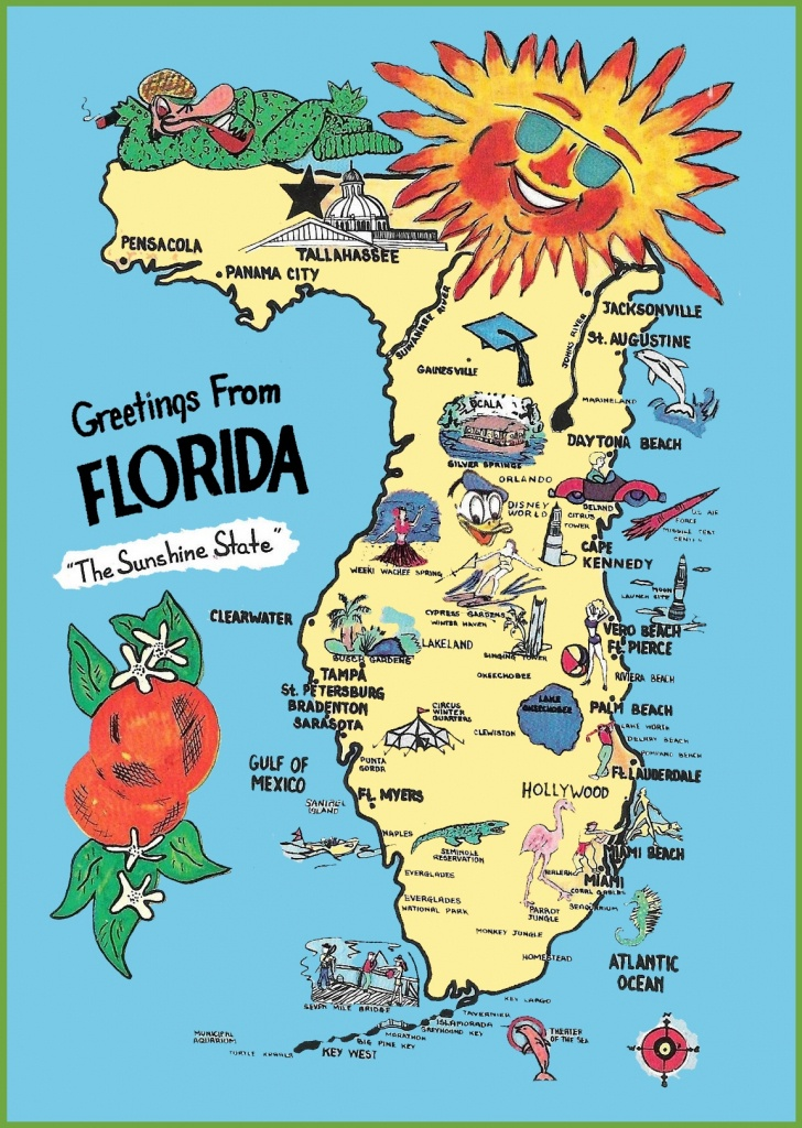 Pictorial Travel Map Of Florida Random 2 Usa State 15 Pictures - Florida Cartoon Map
