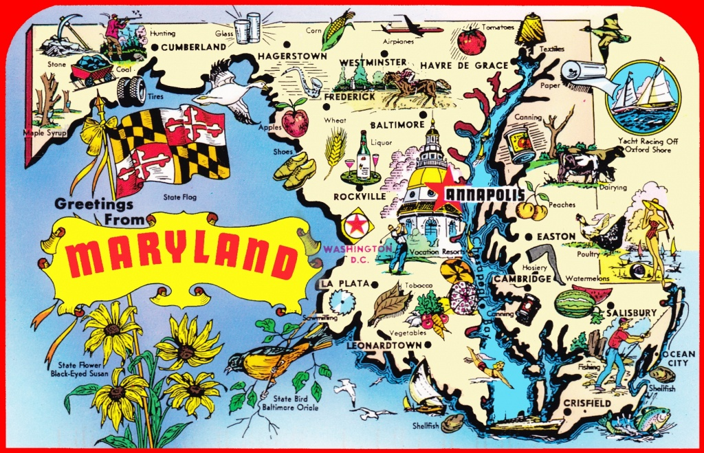 Pictorial Travel Map Of Maryland - Printable Map Of Maryland