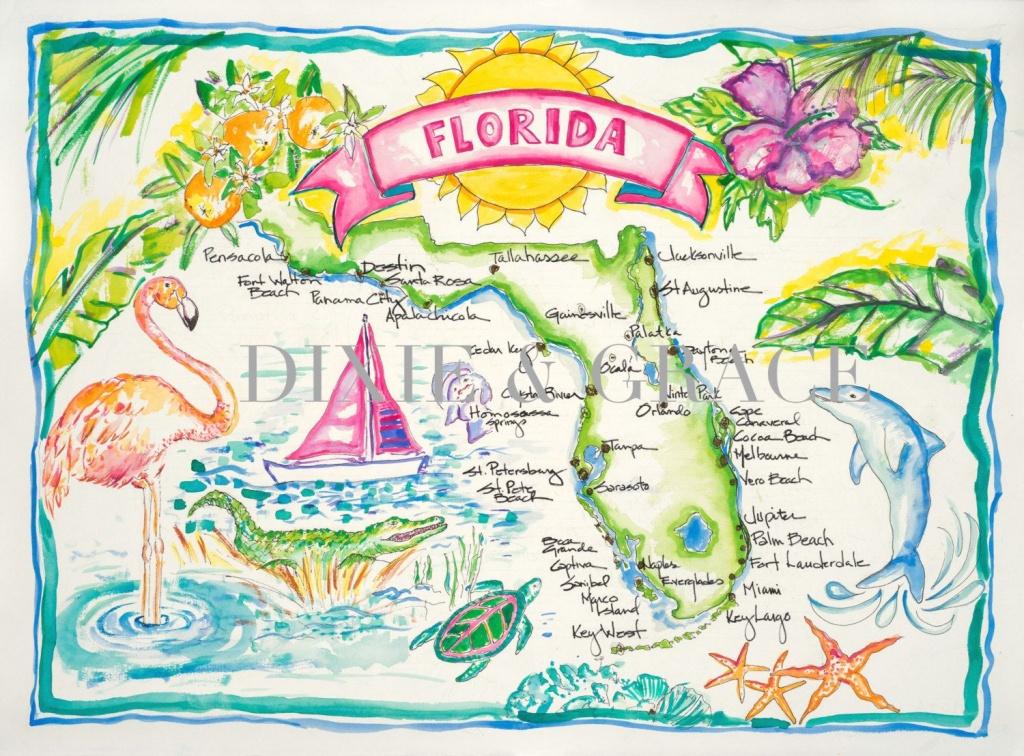 Pinann Bazzell On Florida Sunshine | Watercolor Map, Watercolor - Watercolor Florida Map