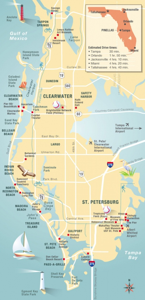 Pinellas County Map Clearwater, St Petersburg, Fl | Florida - Clearwater Beach Florida On A Map