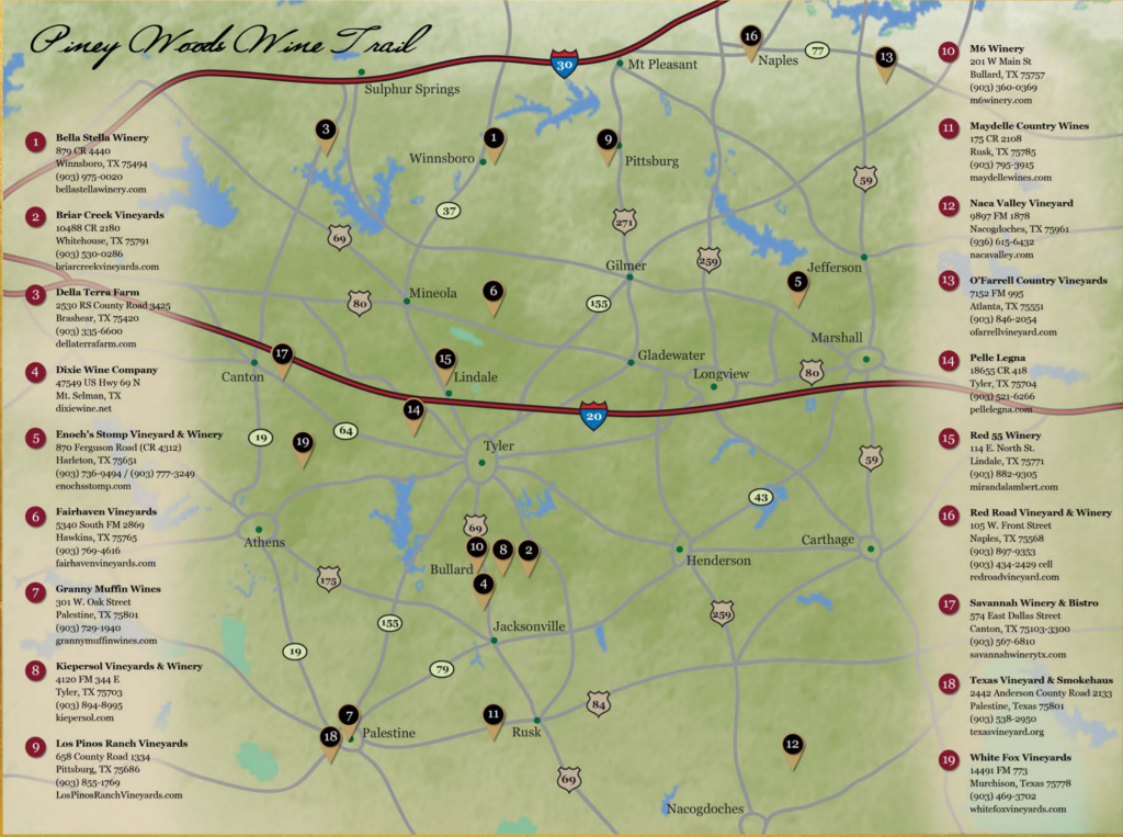 Piney Woods Wine Trail | Texas Uncorked - Texas Winery Map