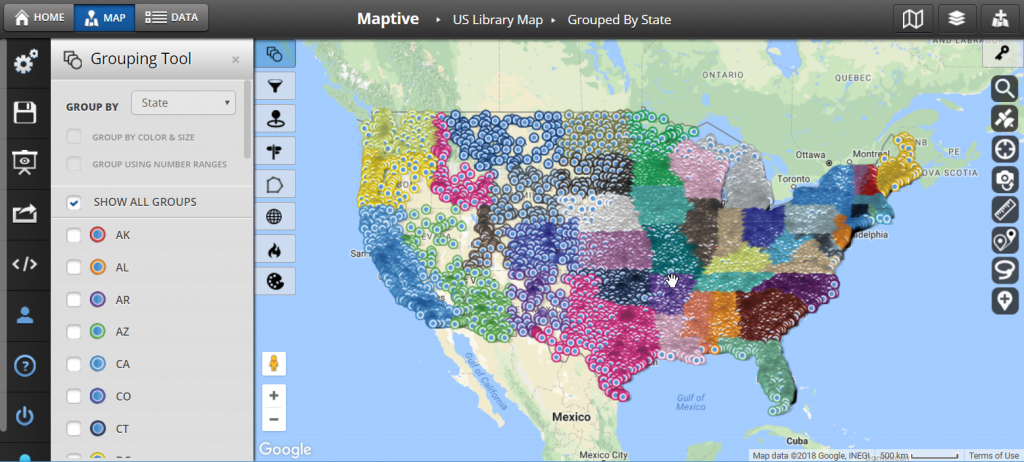 Plot Multiple Locations On A Map - Maptive - Make A Printable Map With Multiple Locations