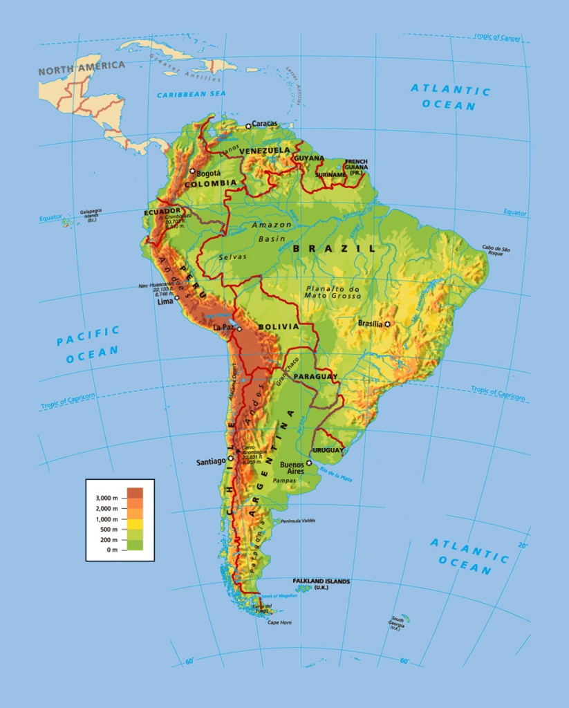 Political And Physical Map Of South America. South America Political - South America Physical Map Printable