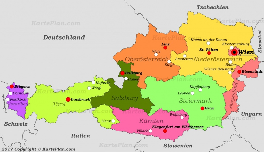 Political Map Of Austria With Cities - Printable Map Of Austria