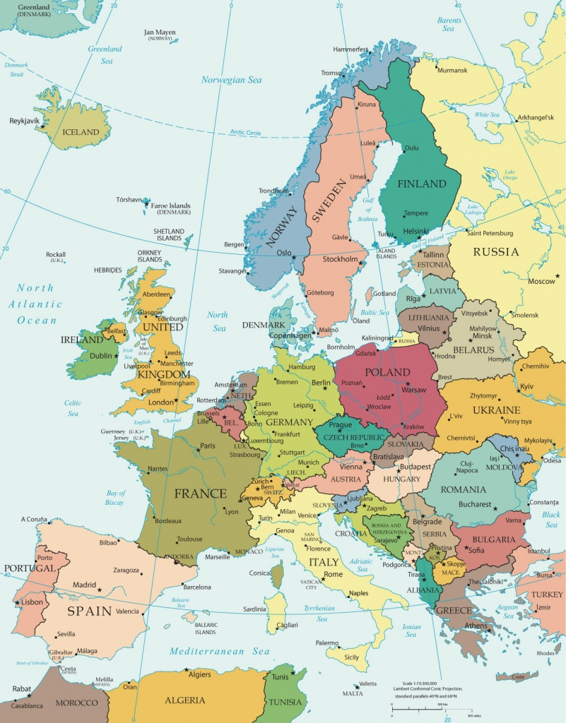 Political Map Of Europe - Countries - Printable Political Map Of Europe