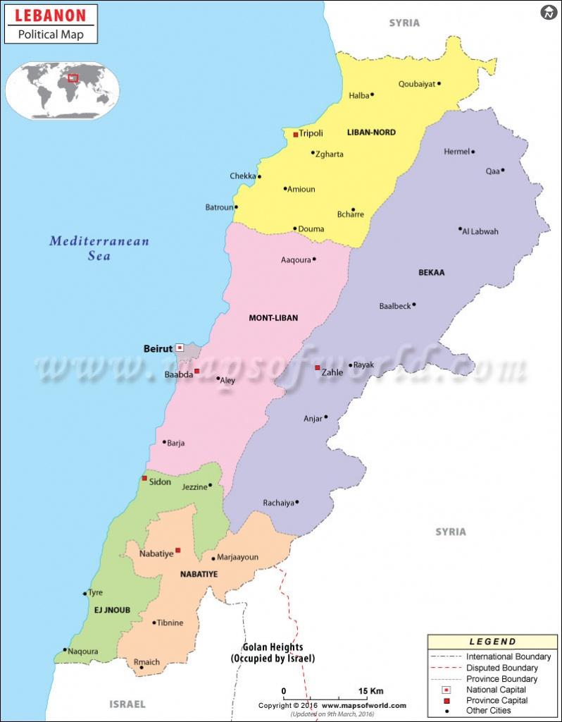 Political Map Of Lebanon | Lebanon Governorates Map - Printable Map Of Lebanon