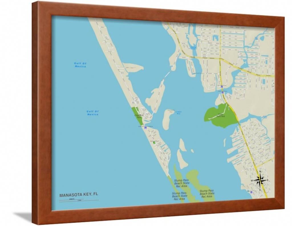 Political Map Of Manasota Key, Fl Framed Print Wall Art - Manasota Key Florida Map