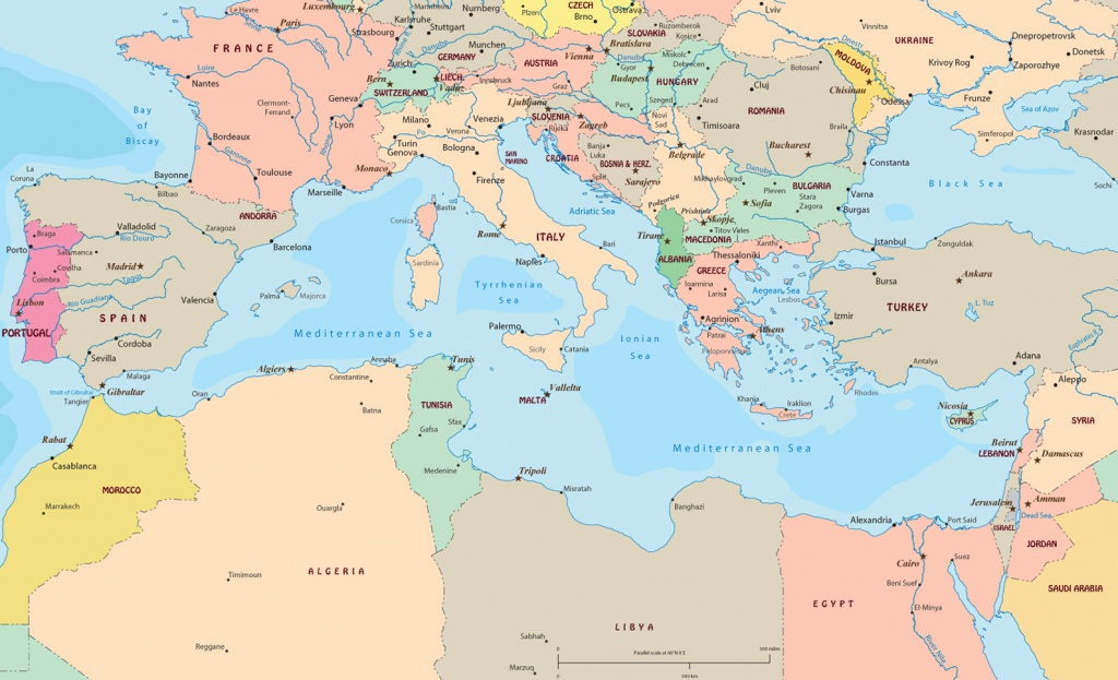 Political Map Of Mediterranean Sea Region - Printable Map Of The Mediterranean Sea Area