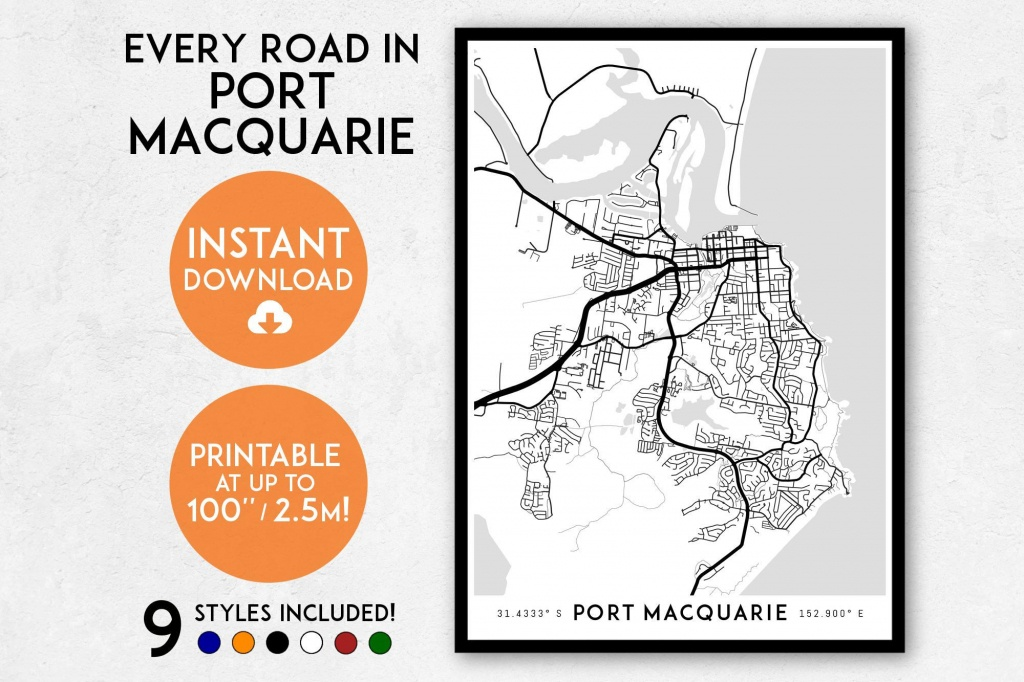 Port Macquarie Map Print Printable Port Macquarie Map Art | Etsy - Printable Street Map Of Port Macquarie