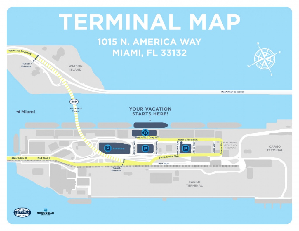 Port Of Miami Map And Travel Information | Download Free Port Of - Miami Florida Cruise Port Map