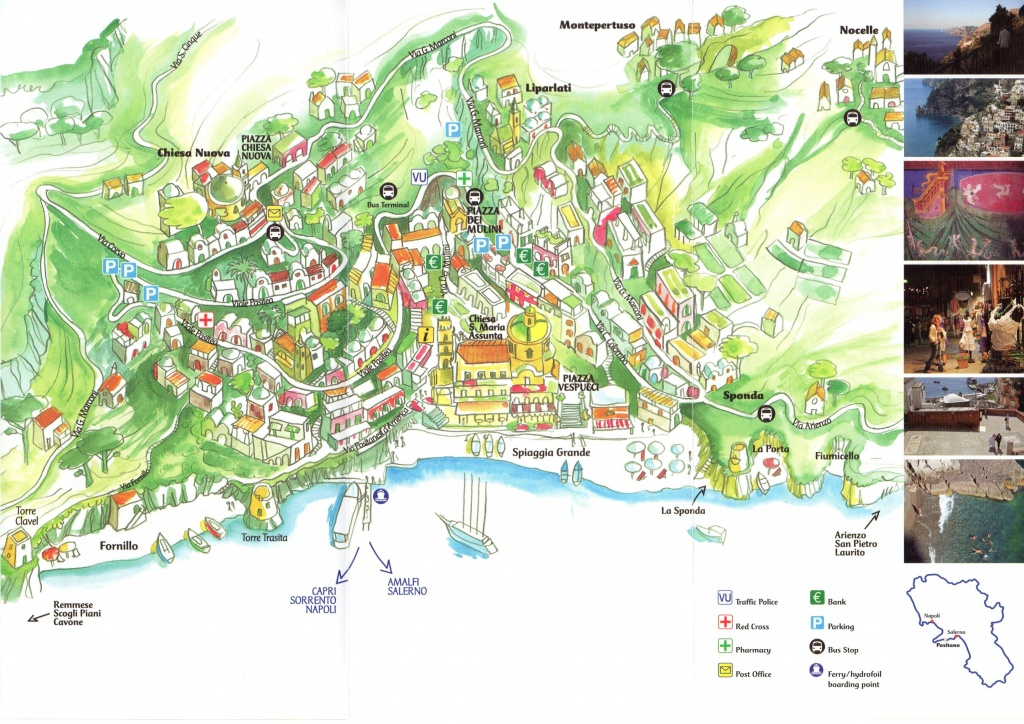 Positano Map - Printable Street Map Of Sorrento Italy