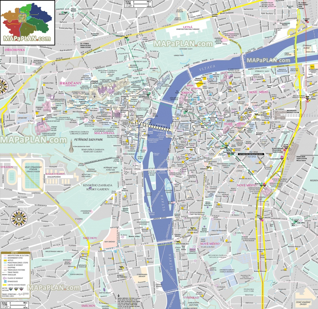 Prague Maps - Top Tourist Attractions - Free, Printable City Street Map - Printable City Street Maps