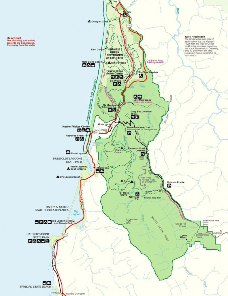 Prairie Creek Redwoods Sp In Redwood National Park , Trinidad - National And State Parks In California Map