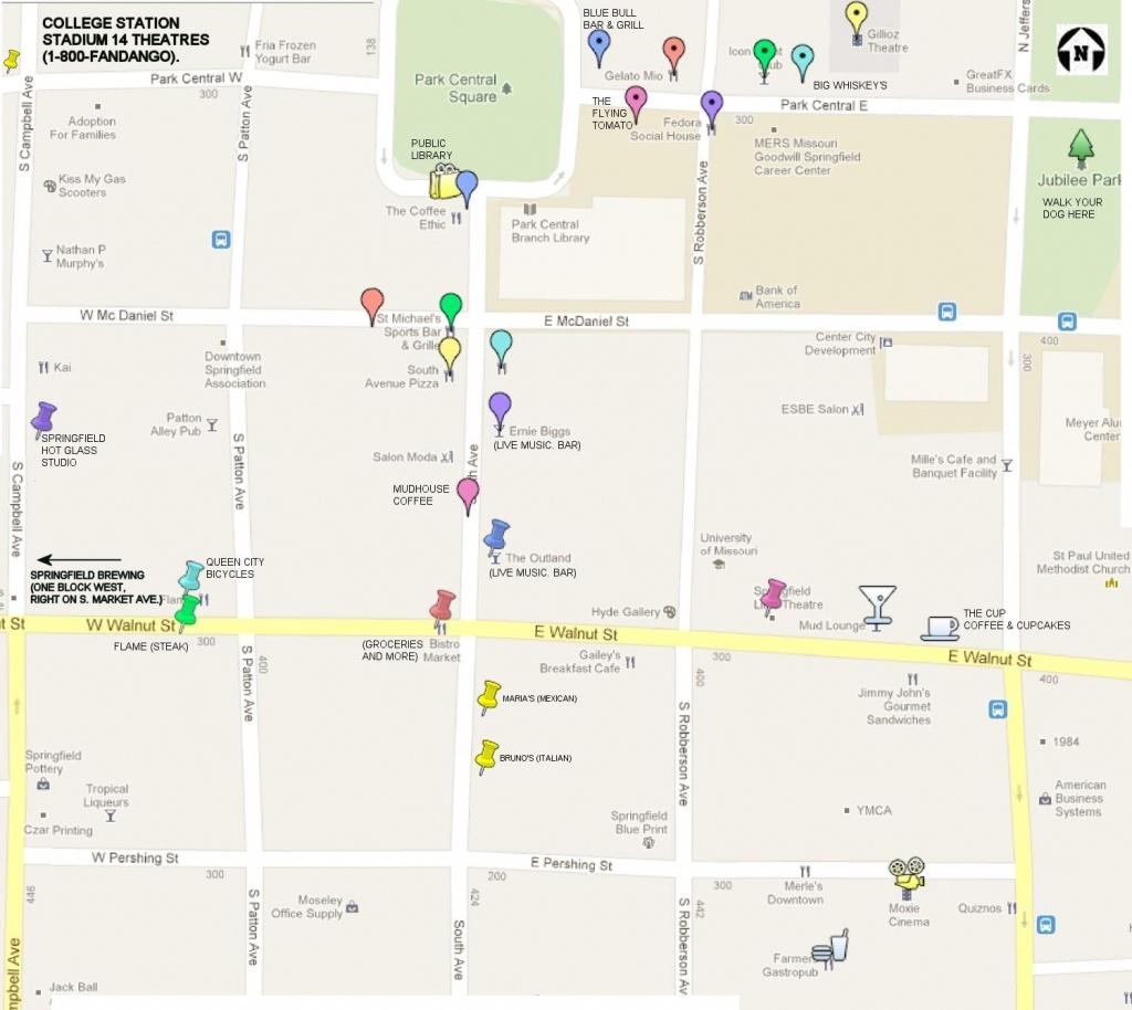 Print Map Of Downtown Springfield, Mo   1-417-327-3911   Aj Ellis - Printable Map Of Springfield Mo