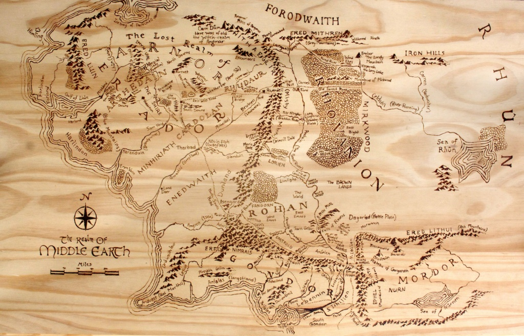 Print Of Hand-Burned Map Of Middle Earth Wood Burn | Etsy - Printable Map Of Middle Earth