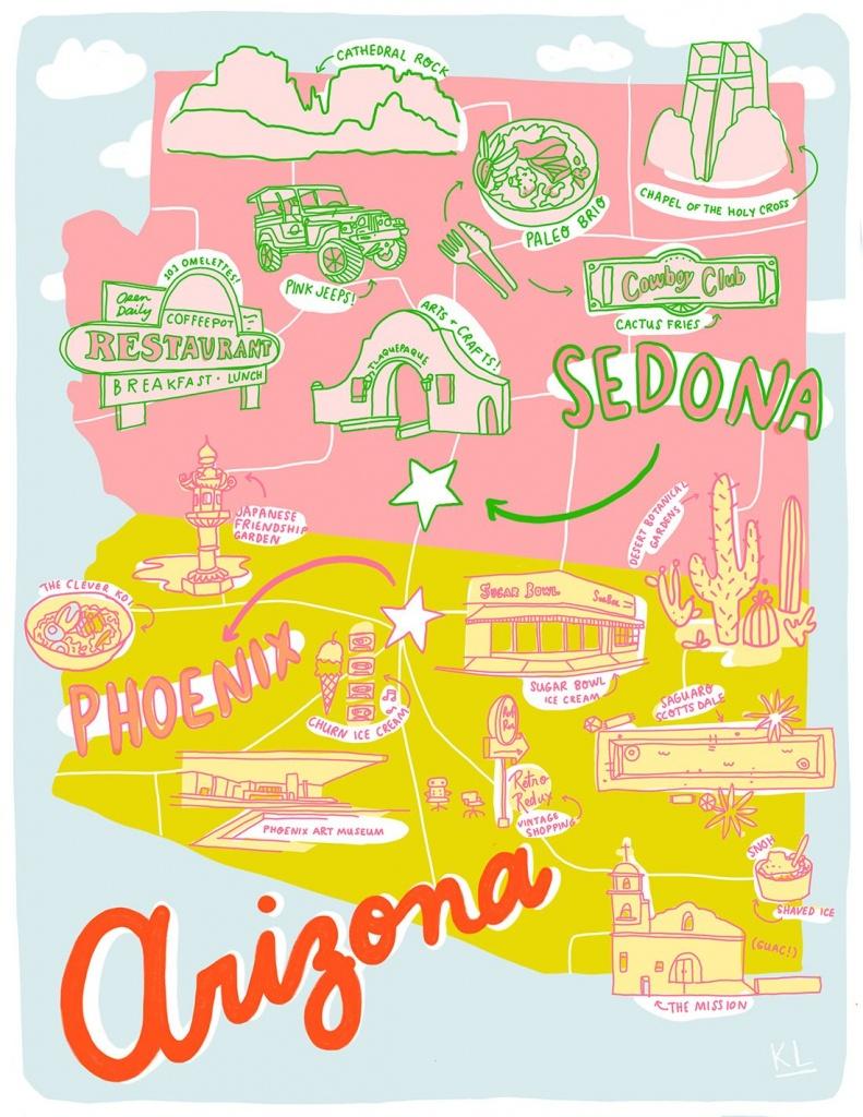 Printable Arizona Mapkristen Long X Aww Sam   Illustrations In - Free Printable Map Of Arizona