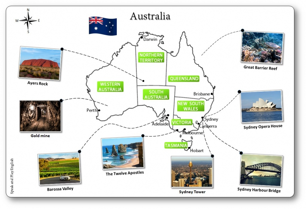 Printable Australia Illustrated Map For Children - Australian Map - Free Printable Map Of Australia
