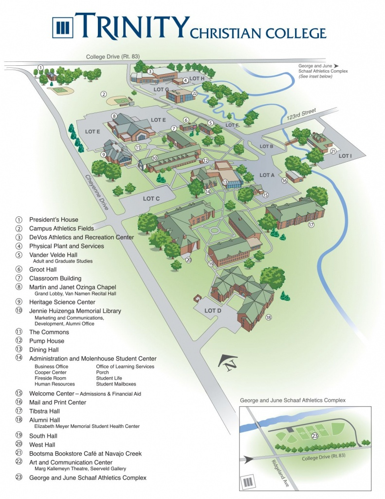Printable Campus Map - Trinity Christian College - Palos Heights, Il - Notre Dame Campus Map Printable