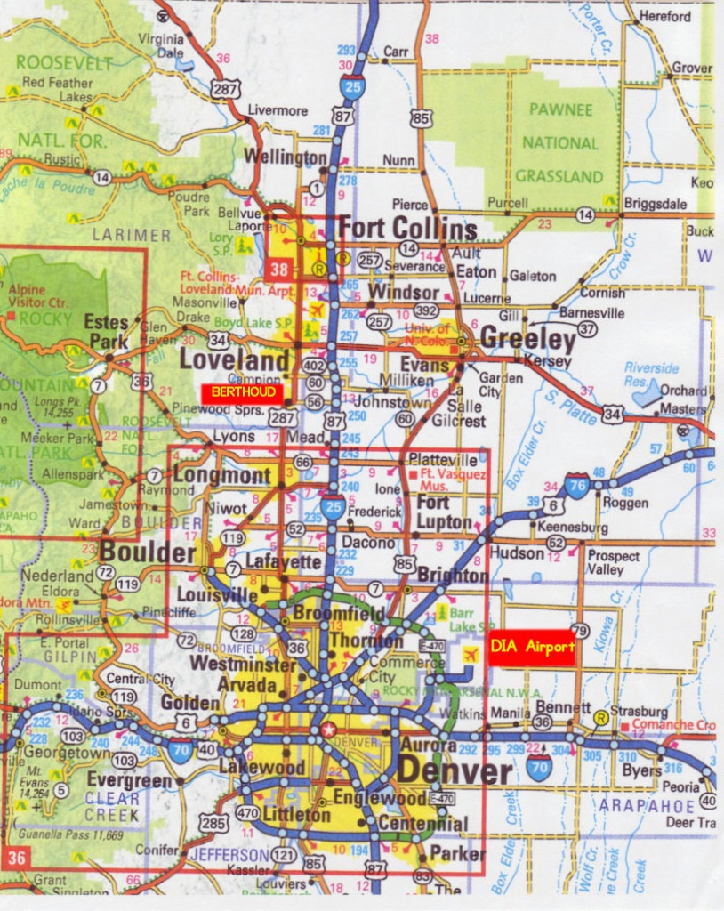 Printable Map Of Denver And Travel Information | Download Free - Printable Map Of Denver