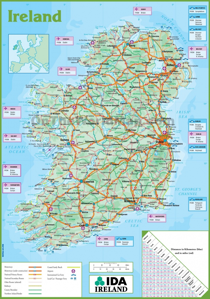 Printable Map Of Ireland Counties And Towns